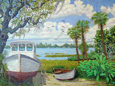 Poster featuring the painting Wadmalaw Boats by Dwain Ray