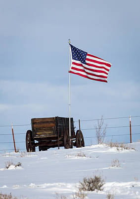 Wagon And Flag Poster