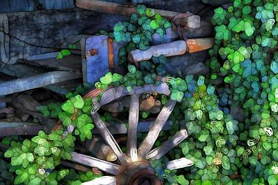 Wagon Wheel And Ivy Abstract Poster