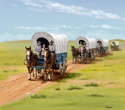 Wagons West Establish Grapevine Texas - Wagon Train Poster by Walt Curlee