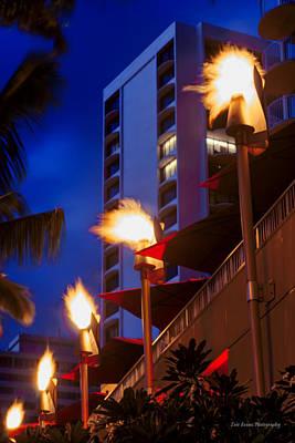 Poster featuring the photograph Waikiki Tiki Torches by Aloha Art