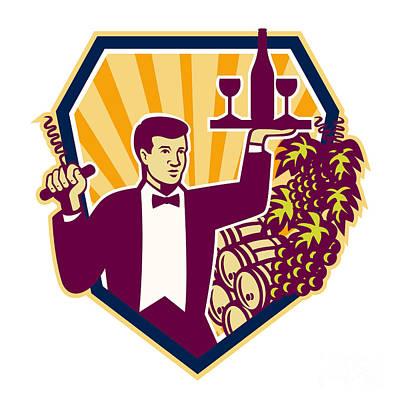 Waiter Serve Wine Glass Bottle Shield Retro Poster