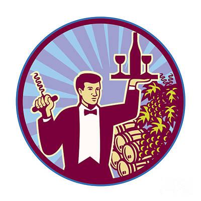 Waiter Serving Wine Glass Bottle Retro Poster