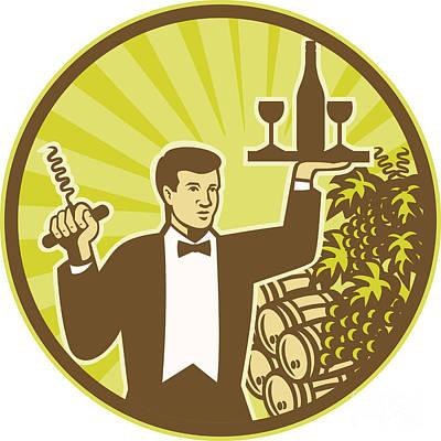 Waiter Serving Wine Grapes Barrel Retro Poster