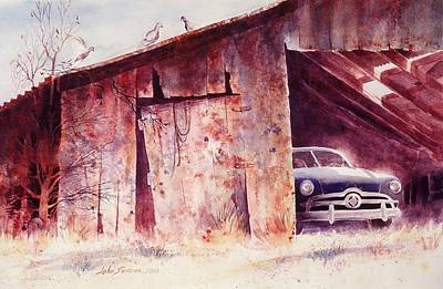 Poster featuring the painting Waitin In The Shade by John  Svenson