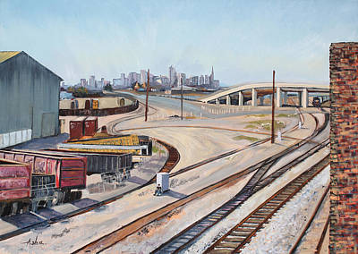 Poster featuring the painting Waiting For The Train by Asha Carolyn Young