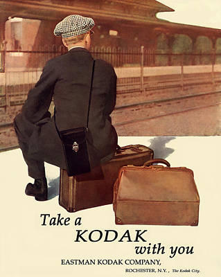 Waiting For The Train. Circa 1915. Poster by Unknown Artist