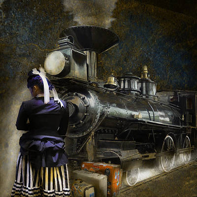 Waiting For The Train - Steampunk Poster