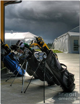 Waiting Out The Rain - Chambers Bay Golf Course Poster by Chris Anderson