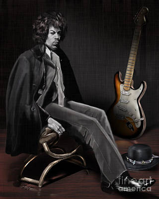 Waiting To Play - The  Jimi Hendrix Series Poster by Reggie Duffie