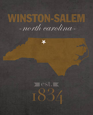 Wake Forest University Demon Deacons Winston Salem Nc College Town State Map Poster Series No 121 Poster by Design Turnpike