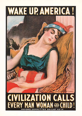 Poster featuring the mixed media Wake Up America by Presented By American Classic Art