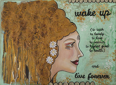 Wake Up Inspirational Mixed Media Folk Art Poster