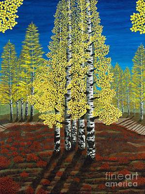 Walk Through Aspens Triptych 2 Poster by Rebecca Parker