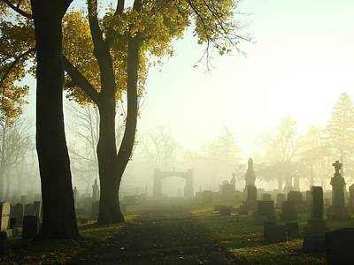 Walk Through The Hazy Cemetery Poster by Gothicrow Images