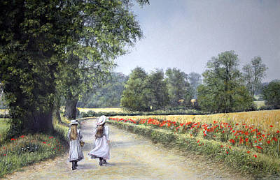 Poster featuring the painting Walking Home by Rosemary Colyer