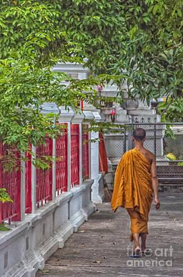Walking Monk Poster by Antony McAulay