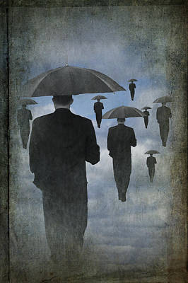 Walking On Air In A Cloudy Blue Sky Poster