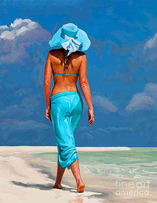 walking on the beach V Poster