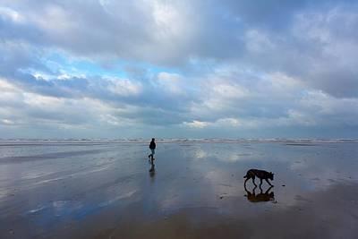 Walking On The Dutch Beach Poster by Ton Koene