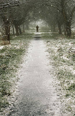 Walking On The Winter Path Poster by Svetlana Sewell