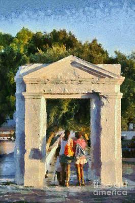 Walking Through The Old Gate Poster by George Atsametakis