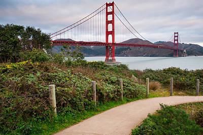 Walking To The Golden Gate Bridge - California Poster
