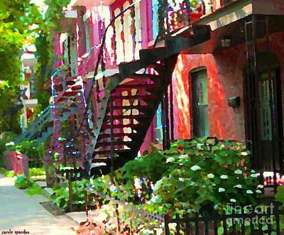 Walking Verdun Spiral Staircases Graceful Circular Steps Montreal Colorful Scenes Carole Spandau  Poster