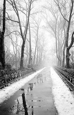 Poster featuring the photograph Walkway Snow And Fog Nyc by Dave Beckerman