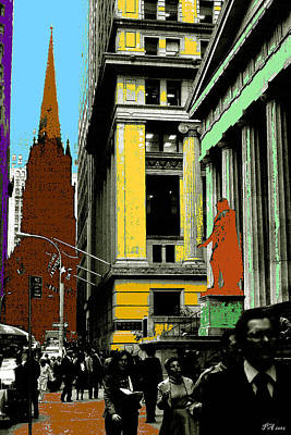 New York Pop Art In Blue Green Red Yellow Poster
