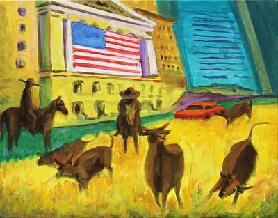 Wall Street Bulls On The Run Painting By Bertram Poole Artist Poster