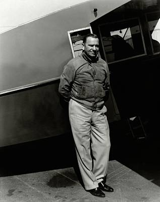 Wallace Beery In Front A An Airplane Poster