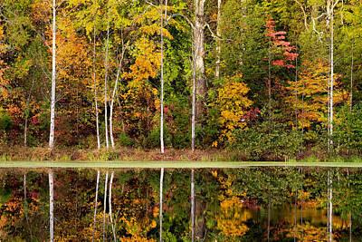 Walnut Creek Lake Autumn Reflection Poster by Nathaniel Kidd