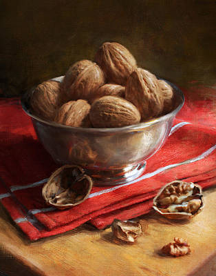 Walnuts On Red Poster by Robert Papp