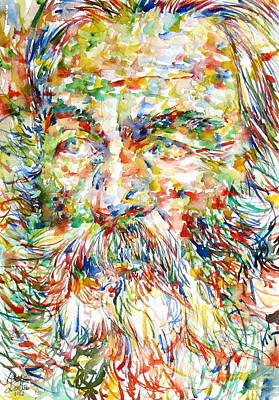 Walt Whitman Watercolor Portrait.1 Poster by Fabrizio Cassetta