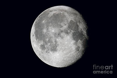 Waning Moon And Lunar Landscape Poster by John Chumack