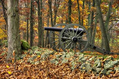 Poster featuring the photograph War Thunder - The Albemarle Va Artillery Wyatt's Battery West Confederate Ave Gettysburg by Michael Mazaika