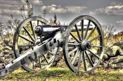 Poster featuring the photograph War Thunder - The Letcher Artillery Brander's Battery West Confederate Ave Gettysburg by Michael Mazaika