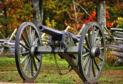 War Thunder - The Orange Artillery Fry's Battery - 1a Oak Hill Autumn Gettysburg Poster by Michael Mazaika