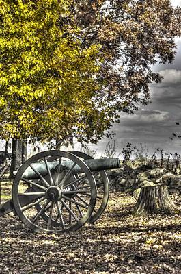 Poster featuring the photograph War Thunder - The Purcell Artillery Mc Graw's Battery-a2 West Confederate Ave Gettysburg by Michael Mazaika