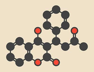 Warfarin Anticoagulant Drug Molecule Poster