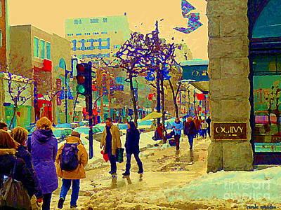 Warm Winter Day Shopping Rue St Catherine Ogilvys Department Store Tartan Flags Mtl Scene C Spandau Poster