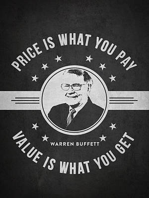Warren Buffet - Charcoal Poster by Aged Pixel