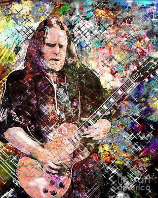 Warren Haynes Govt Mule Original Painting Art Print Poster by Ryan Rock Artist