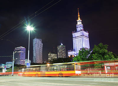 Warsaw Downtown Skyline At Night Poster by Michal Bednarek