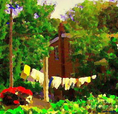 Washday Hanging Clothing On The Line Cote St Luc Suburban Backyard Scene Quebec Art Carole Spandau Poster