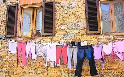 Washing Day Tuscany Poster by Jan Matson