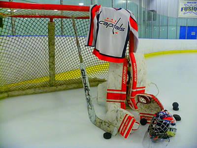 Washington Capitals Hockey Away Goalie Jersey Poster by Lisa Wooten