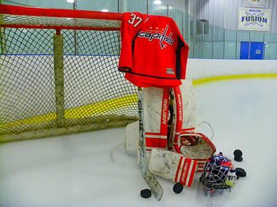 Washington Capitals Olie Kolzig Hockey Poster by Lisa Wooten