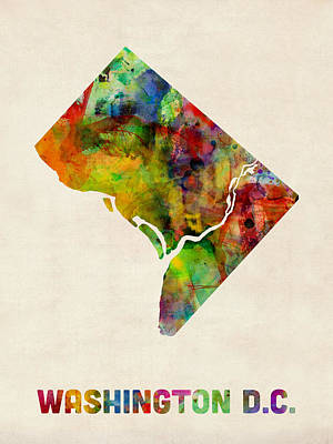 Washington Dc District Of Columbia Watercolor Map Poster by Michael Tompsett